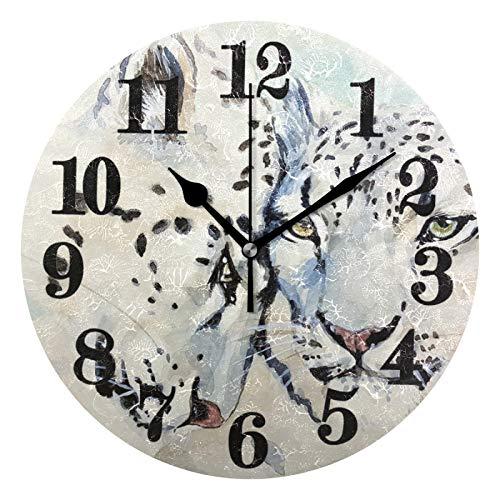 FVFV Jaguar Leopard Art Reloj de Pared Redondo Moderno Reloj de Cuarzo Silencioso con Batería No-Ticking para Sala Oficina