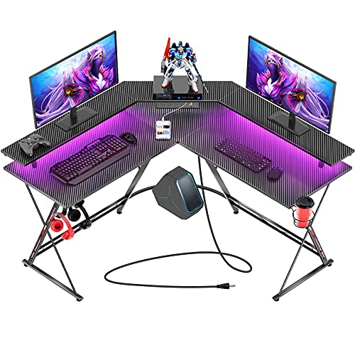 """Seven Warrior Gaming Desk 50.4"""" with LED Strip & Power Outlets, L-Shaped Computer Corner Desk Carbon Fiber Surface with Monitor Stand, Ergonomic Gamer Table with Cup Holder, Headphone Hook, Black"""