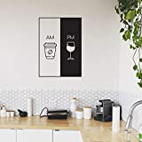 Vinyl Wall Art Decal - AM Coffee PM Wine - 30' x 22' - Trendy Cute Funny Quote Sticker for Coffee Lovers Living Room Kitchen Restaurant Office Kitchenette Coffee Shop Store Decor