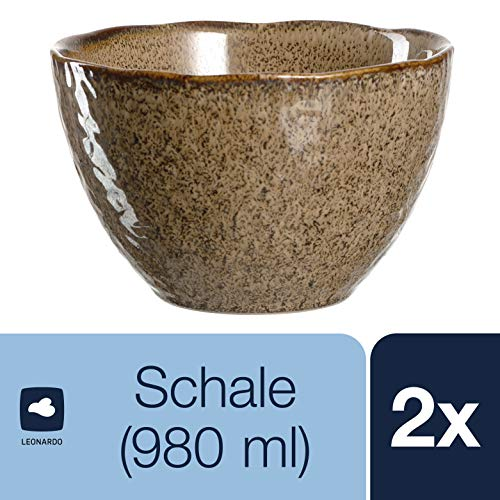 LEONARDO Schale Matera 2-er Set, 15,3 cm, 2 Keramik Schalen, spülmaschinengeeignet, mit Glasur beige, 026981