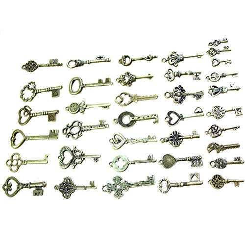 NICE ASSORTMENT OF SKELETON KEYS- come with 40 pieces adorable keys in antique bronze color, different sizes and shapes, few duplicates MATERIAL- Made of zinc alloy, a good heavy metal without cumbersome feeling, well made! no rough edges and sturdy ...