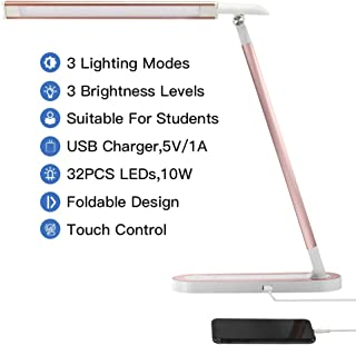 HDTIME Desk LED Lamp with USB Charging Port Touch-Sensitive Control 3 Lighting Modes with 3 Brightness Levels 32PCS LEDs for Study, Office and Home(Pink)