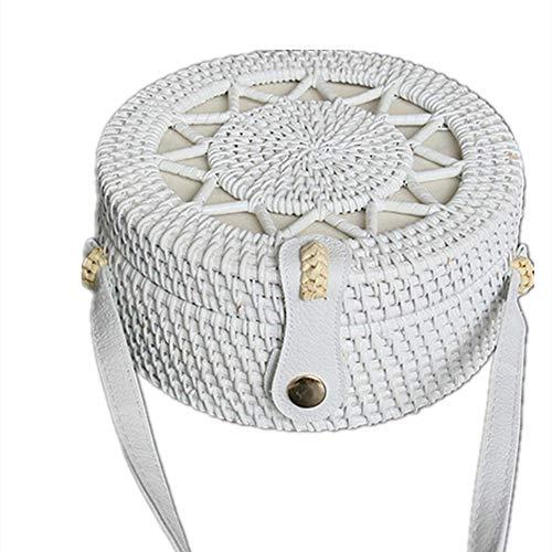 Cuero mujeres del hombro Tejido a mano Tejido de mimbre mensajero del bolso redondo rota bolsa de regalos correas Natural Chic bolso de la playa bolsa de mano (Especificaciones: 20 * 8 cm)