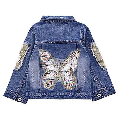 SXSHUN Giacca di Jeans Bambina Giacche Denim con Paillettes Forma di Farfalla, Farfalla, 130cm / 6-7 Anni