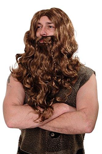 WIG ME UP- WIG007-P8 Peluca y Barba Carnaval Halloween Vikingo Fiera Bárbar marrón Claro