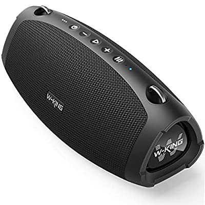 Bluetooth Speaker, W-KING 70W Punchy Bass Speaker Loud, Quick Charging, 15000mAh Power Bank, IPX6 Waterproof Outdoor, Bluetooth 5.0, Crystal Clear Audio, Mic for Party, Home, Adapter Not Included