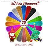 3D Pen Filament Refills 1.75mm PLA Filament Pack of 20 Different Popular Colors(16.4FT/5M Each) Included 4 Glow in The Dark- Plastic Filament for 3D Printing Pen