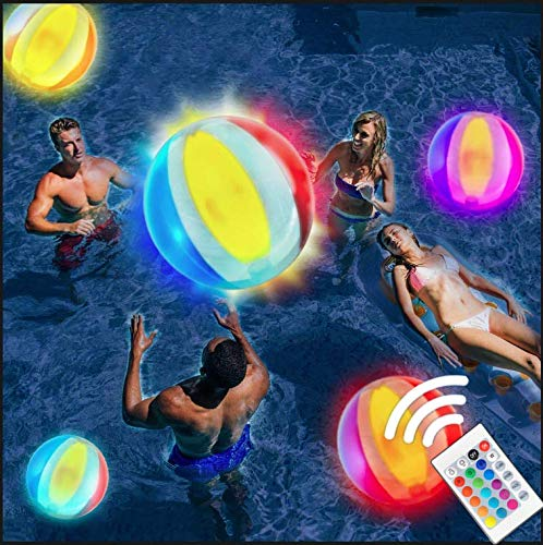 Funny Monkeys Pool Toy 18'' Inflatable Light up Beach Ball, 16 Light Colors 4 Light Modes Glow Ball, Pool Games for Adults Kids, Glow in The Dark Home Patio Garden Swimming Party Decorations