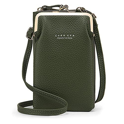 VEVESMUNDO Handy Umhängetasche Geldbörse klein Damen Crossbody PU Leder Mini Karte Schultertasche Brieftasche Geldbeutel Handytasche Handtasche zum Umhängen (Vertikale Typ B - Grün)