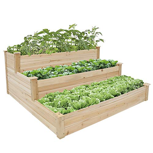 3 Tier Raised Garden Bed Outdoor Patio Wooden Elevated Planter Box for Vegetable Herb Flower