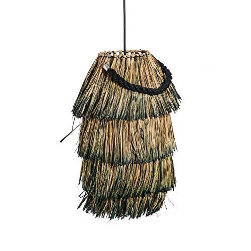 Lámpara de techo exótica con flecos de rafia natural en