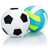 com-four® 2X Pelota Inflable - Fútbol Suave y Voleibol - Pelota Infantil Suave, para Piscina, Playa, jardín y en el hogar [la selección varía]