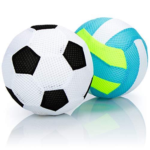 com-four® 2X aufblasbarer Ball, weicher Fußball und Volleyball, Softer Kinderball, für Schwimmbad, Strand, Garten und Zuhause [Auswahl variiert] (2-teilig - Fußball/Volley - 15cm)