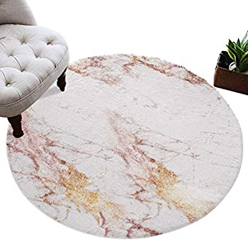 OUR DREAMS Round Area Rug Rose Gold Glitter Crackle Fuzzy Plush Area Rug Furry Carpet 4 Ft White Marble Shaggy Playing Rug for Girls/Boys Cute Floor Decor for Babyroom