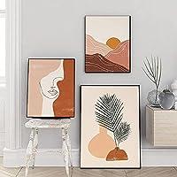 キャンバスアートワーク風景ポスターラインアート女性ボヘミアン北欧アートプリント抽象的な顔ギャラリー壁の地平線太陽の装飾3個60x80cmフレームレス