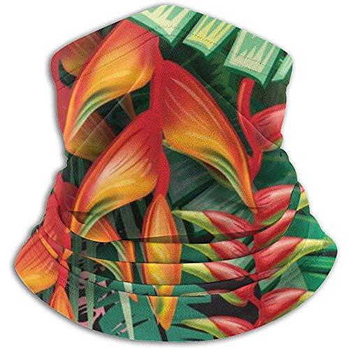 Archiba Halstuch Tropische Pflanzen und Heliconia Blumen Fleece Halsmanschette Winterwärmer Kopfwickel