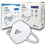 10 Mascarillas FFP2 / KN95 Homologadas de Certificación CE sin Válvula de 4 Capas, Máscara Protectora de Polvo y Partículas, Mascarilla de Protección Personal con Filtros de Calidad BFE≥95, 10 Piezas