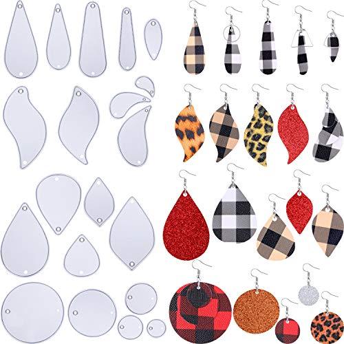 20 Piezas Troqueles de Pendientes Troquel en Forma de Hoja Plantilla de Metal para Manualidades de Pendientes de Cuero