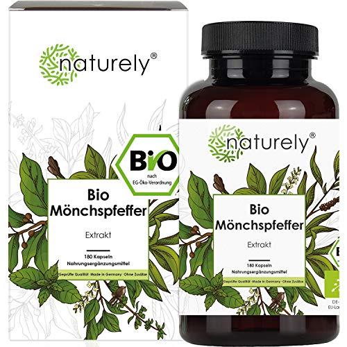 naturely® BIO Mönchspfeffer Extrakt - 180 Kapseln - Original Vitex Agnus Castus - 10mg Extrakt je Kapsel - 6 Monats Vorrat, vegan, laborgeprüft, hergestellt in Deutschland