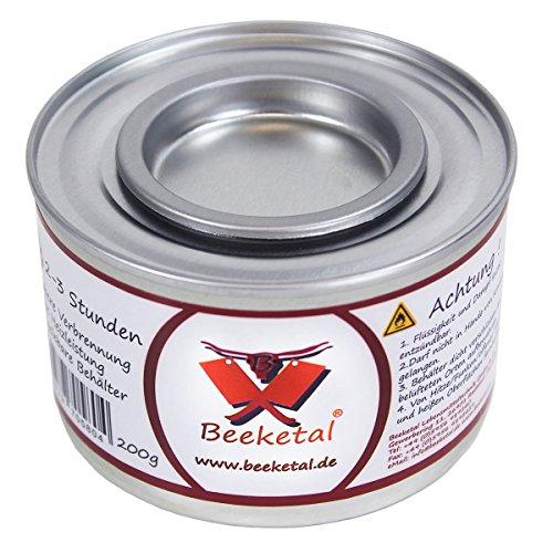Beeketal Brennpaste - 72 x 200g Sicherheitsbrennpaste Dosen, ca. 2-3 Std. Brenndauer pro Dose, sauber und geruchlos, für z.B. Fondue oder Chafing Dish Speisewärmer - 72er Pack (72 x 200g Dosen)