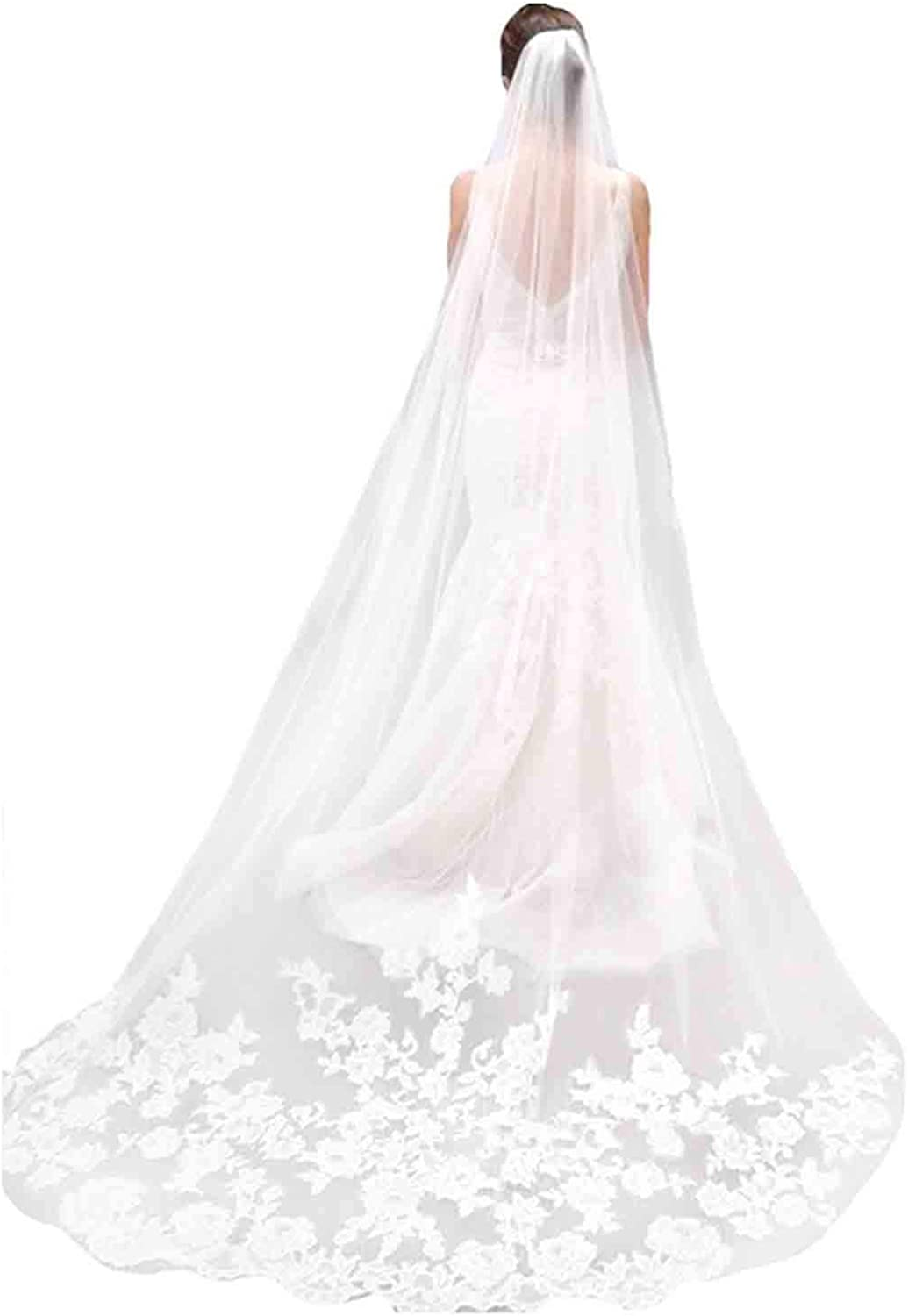 Olbye Women's Wedding Veil 108 Inch Cathedral Lace Veil Single Tier 1T Long Veils For Brides Long Bridal Veil