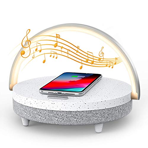 LED Night Light, EZVALO Music Table Lamp with Wireless Charger 10W Max, 4 in 1 Portable Bluetooth Speaker, Touch Control Bedside Lamp, Cell Phone Stand, Dimmable Night Light for Bedroom, Living Room
