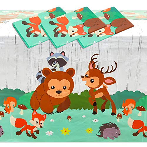 Woodland Animals Plastic Tablecloth for Birthday Party (54 x 108 in, 3 Pack)