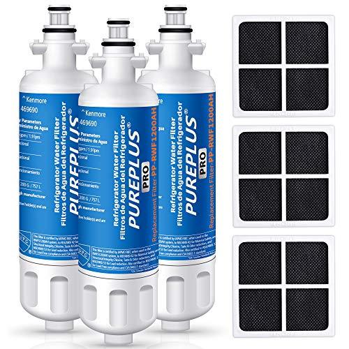 PUREPLUS LT700P NSF 53&42 Certified Replacement for LG ADQ36006101 Kenmore 469690, ADQ36006102, LFXS30766S, LFX28968ST, LFX31925ST, LFX31945ST, LT120F Refrigerator Water and Air Filter Combo, 3Pack