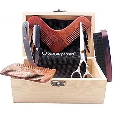 Beard Grooming Kit, Beard Brush + Beard Comb + Beard Shaper + Scissors + Razor Set for Men, Beard Care Kit for Home and Travel with Wooden Box, Ideal Gift for Men-Dad's Birthday Father's Day