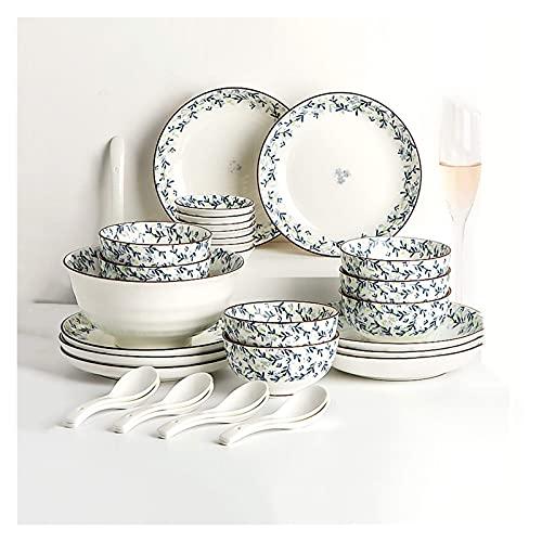 Platos de vajilla de cocina, 30 piezas de vajilla de cerámica para el hogar, elegante juego de platos y cuencos de flores de plantas azules, juegos de platos de cena con trazos marrones pintados a man