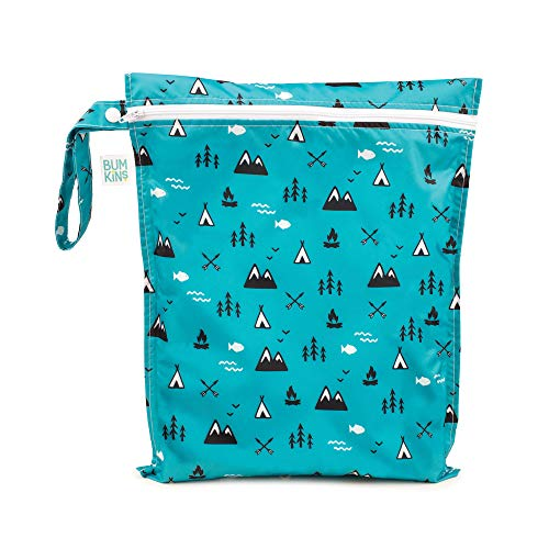 Bumkins Waterproof Wet Bag, Washable, Reusable for Travel, Beach, Pool, Stroller, Diapers, Dirty Gym Clothes, Wet Swimsuits, Toiletries, 12x14