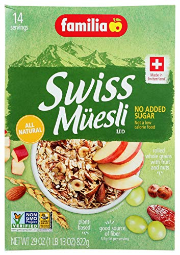 Familia Swiss Muesli Cereal, No Added Sugar, 29 Ounce Box, Packaging May Vary