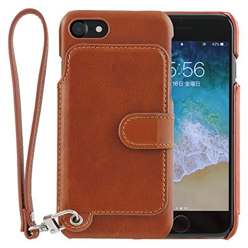 <iPhoneSE 第二世代 / iPhone8&7> RAKUNI (ラクニ) 本革 背面フリップケース/財布いらず/便利な前面むきだし/ストラップ付き/スタンド機能 (キャラメルブラウン)