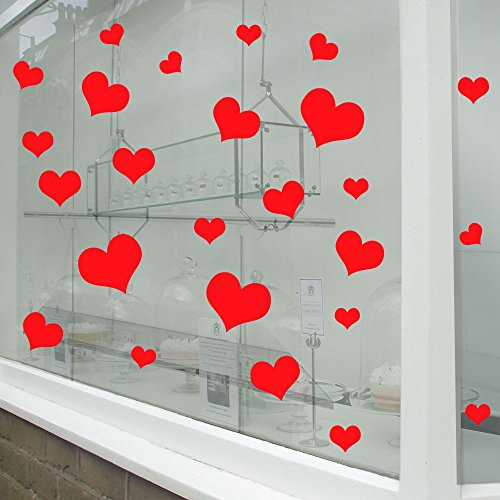 Valentines Day Hearts Wall & Window Stickers Decals Shop Window Display Love Decor Decals Shop New Diy Wall Window Wall Decor Wall Stickers Wall Art Wall Decals Stickers Wall Decal Decals Mural Décor Diy Deco Removable Wall Decals Colorful Stickers by Vinyl Concept