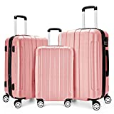 Fochier 3 Piece Expandable Spinner Luggage Set Hard Shell Lightweight Suitcase Rose Gold