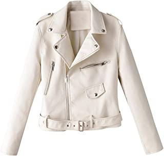 Women's Faux Leather Jacket Biker Jacket Motorcycle Jacket Short Transition Jacket Casual Outwear with Zipper