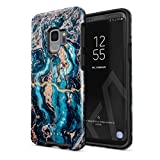 BURGA Phone Case Compatible with Samsung Galaxy S9 - Crystal Blue Teal Turquoise Marble Cute Case for Girls Heavy Duty Shockproof Dual Layer Hard Shell + Silicone Protective Cover