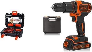 BLACK+DECKER A7232-XJ Drill Set - Black, 1 Piece with BLACK+DECKER 18 V Cordless 2-Gear Combi Hammer Drill Power Tool with...