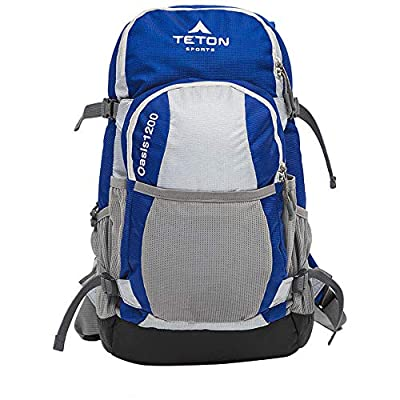 TETON Sports 1089 Oasis 1200 Hydration Pack; Free 3-Liter Hydration Bladder; For Backpacking, Hiking, Running, Cycling, and Climbing, Blue/Grey, 12 x 9.5-Inch