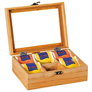 Kesper 50902Boîte à thé en bambou, 21,7x 16x 9cm