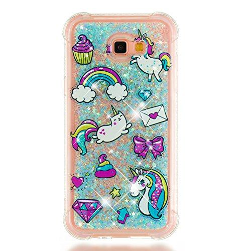 Phcases Funda para Samsung Galaxy A7(2017)/A720, 3D Bling Brillante Glitter Carcasa Silicona Gel TPU Flexible Cover Crystal Clear Case Transparente Protectora Blanda Caso Caja Cubierta(Unicornio).