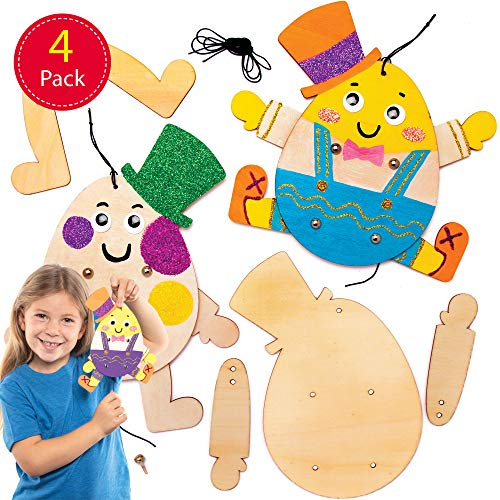 Baker Ross paasei-man poppen knutselsets voor kinderen (4 stuks)