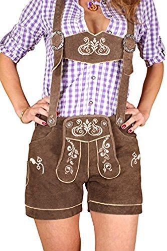 Engelleiter Trachten Lederhose Damen kurz braun Stickerei Hosenträger Verschiedene Modelle bis Gr 44 (36, braun/Modell kudc1)