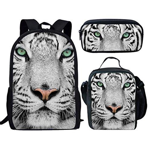 Showudesigns - Set di 3 borse da scuola per bambini e portapranzo con cinturino lungo, astuccio per matite per ragazze e ragazzi, Set tigre. (Bianco) - Z-3182CGK