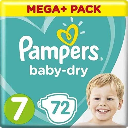 Pampers Baby-Dry Windeln, Gr. 7, 15+kg, Monatsbox, Mega Pack (72 Stück)