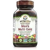Organic Multivitamin for Men, Men's Multi Gold, 90 Capsules, Plant-Based Whole Food Multivitamin Without Iron, Non-GMO, Vegan, Kosher