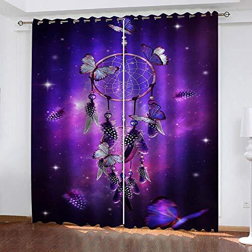 Bxnthd Gardinen Schlafzimmer Vorhang 2 Stück Verdunklungsgardinen Blackout 3D Curtain, Traumfänger 160 (B) X 130 (H) cm