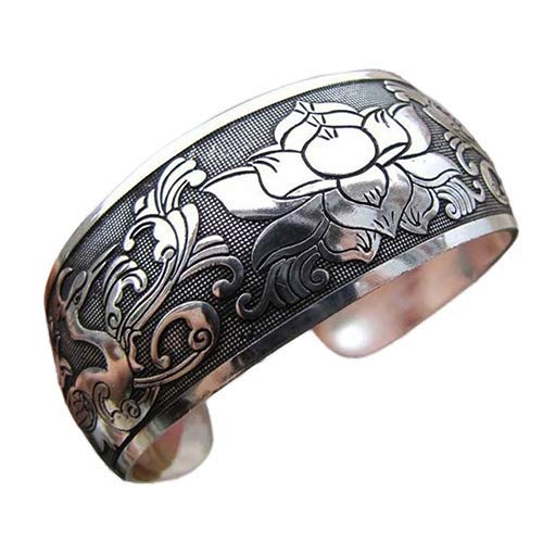 U/K PULABO Armbänder, Frauen ethnischen Stil tibetischen Silber offenen Armreif breite Manschette Armband Schmuck Geschenk sehr Nützliche und beliebt praktisch