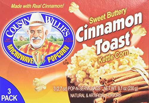 Cousin Willie's Microwave Popcorn Sweet Buttery Cinnamon Toast Kettle Corn 3 Bags Per Box (Pack of 3 Boxes)