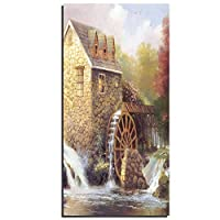 LJFYXZ 壁飾りアートパネル 風車 牧歌的なコテージ ウォールデコ ジクレー キャンバスプリント ウォールアート 高解像度のキャンバス画像 (Color : With a frame, Size : 30x60cm)